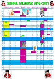 English Worksheet: SCHOOL CALENDAR 2016/2017