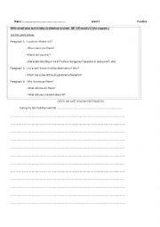 English Worksheet: Composition Writing - Holidays