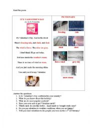 English Worksheet: IT�S VALENTINES DAY (a poem + questions)