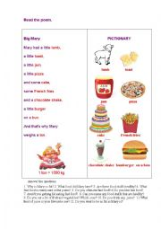 English Worksheet: BIG MARY (a poem)