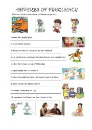 English Worksheet: ADVERBS OF FREQUENCY. ORDER THE WORDS TO FORM SENTENCES. NUMBER PICTURES
