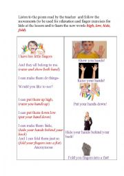 English Worksheet: I HAVE 10 LITTLE FINGERS (A poem for relaxation - TPR method)