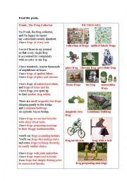 English Worksheet: FRANK, THE FROG COLLECTOR (a poem)