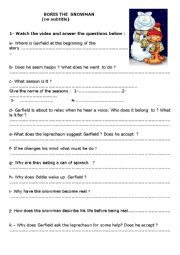 English Worksheet: Garfield and Boris the snowman