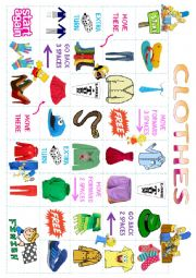 English Worksheet: Clothes Board Game