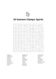 Summer Olympic Word Search