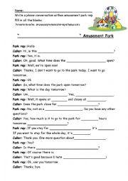 English Worksheet: Amusement Park dialogue