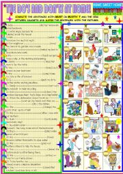 English Worksheet: The Do´s and don´ts at home, must /mustn´t