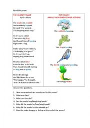 English Worksheet: THE HUNGRY SNAKE (a poem)