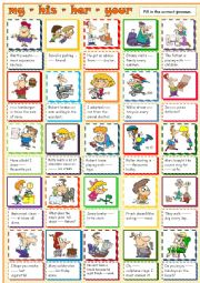 English Worksheet: my - your - his - her - their