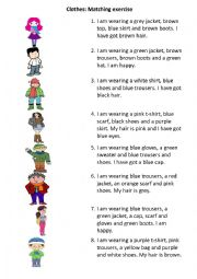 Clothes - a simple matching exercise