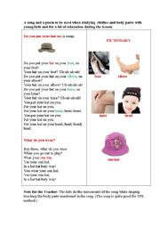 English Worksheet: DO YOU PUT YOUR HAT ON ...? (a song and a poem)