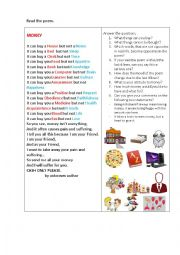 English Worksheet: MONEY  (a poem) + questions to discuss