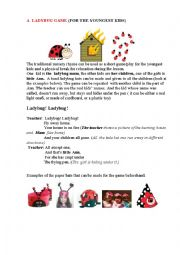 English Worksheet: LADYBUG (a game for the youngest)