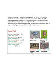 English Worksheet: ANIMAL WALK (a poem)