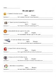English Worksheet: Agree or Disagree Practice