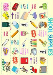 English Worksheet: School Supplies Board Game