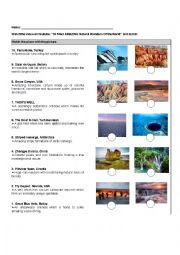 English Worksheet: 10 Most AMAZING Natural Wonders Of the World