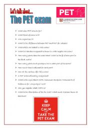 English Worksheet: Let�s talk about the PET exam!