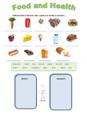 English Worksheet: healthy and unhealthy food
