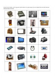 English Worksheet: Old & New Technology Cut & Paste Activity