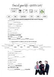 English Worksheet: Green Day - Time of your life