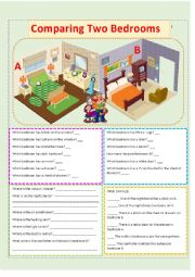 English worksheet: Comparing Two Bedrooms