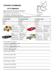 English Worksheet: Activity for the Positive, the Comparative and the Superlative degree