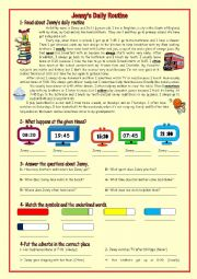 English Worksheet: Jenny�s Daily Routine