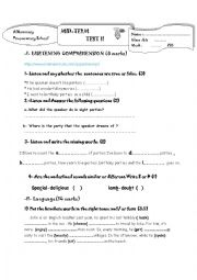 mid term test 8th form