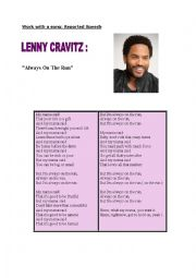 English Worksheet: SONG LENNY KRAVITZ Always on the run