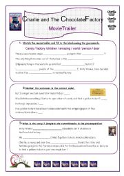 English Worksheet: Charlie and the Chocolate Factory Movie Trailer part 1