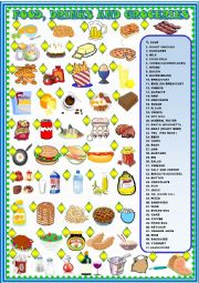 English Worksheet: Food, drinks and groceries:  matching