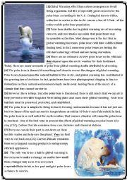 English Worksheet: Global warming reading comprehension test