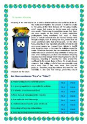 English Worksheet: The Importance of Recycling