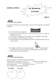 English Worksheet: are neighbours necessary? first form