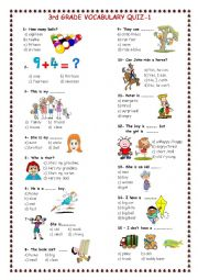 3rd grade vocabulary quiz 1