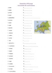 English Worksheet: Countries of Europe