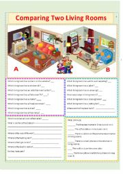 English Worksheet: Comparing 2 Living Rooms