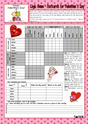 English Worksheet: Logic game (67th) - Postcards for Valentine�s Day *** with key *** fully editable