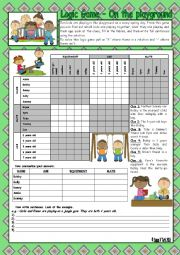 Logic game (68th) - On the playground *** with key *** fully editable
