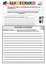 English Worksheet: Alibi Worksheet
