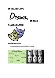 English Worksheet: INTRODUCING DRAMA IN OUR CLASSROOM!!