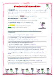 English Worksheet: Contrast connectors