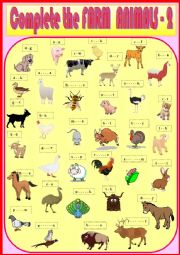 English Worksheet: Complete the Farm Animals 2