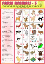 English Worksheet: Match the sentences with the Farm Animals 3