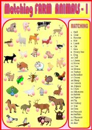 English Worksheet: Matching Farm Animals 1
