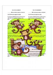 English Worksheet: NUMBERS. Five little monkeys worksheet