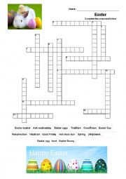 Easter crossword activity