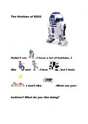 English Worksheet: The hobbies of r2d2 STAR WARS